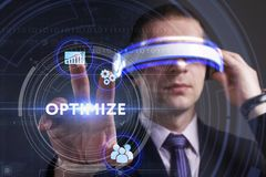 Business, Technology, Internet and network concept. Young busine Stock Photography