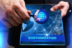 Business, Technology, Internet and network concept. Young busine. Ssman working on a virtual screen of the future and sees the inscription: Customization Stock Photography