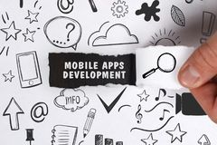 Business, Technology, Internet and network concept. Young businessman shows the word: Mobile apps development stock image