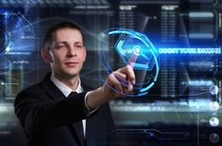 Business, Technology, Internet and network concept. Young businessman working on a virtual blackboard of the future, he sees royalty free stock images