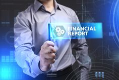 Business, Technology, Internet and network concept. Young busine. Ssman showing a word in a virtual tablet of the future: Financial report Royalty Free Stock Photo