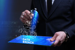 Business, Technology, Internet and network concept. Young busine. Ssman working on a virtual screen of the future and sees the inscription: Data breach Royalty Free Stock Images