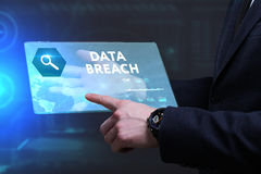 Business, Technology, Internet and network concept. Young busine. Ssman working on a virtual screen of the future and sees the inscription: Data breach Royalty Free Stock Image