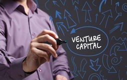 Business, Technology, Internet and network concept. Young busine. Ss man writing word: venture capital Royalty Free Stock Photo