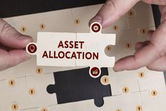 Business, Technology, Internet and network concept. Young busine. Ssman shows the word: Asset allocation Stock Photos