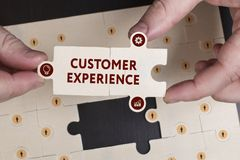 Business, Technology, Internet and network concept. Young businessman shows the word: Customer experience stock photos