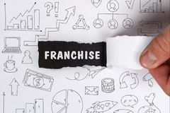 Business, Technology, Internet and network concept. Young businessman shows the word: Franchise stock photo