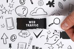 Business, Technology, Internet and network concept. Young businessman shows the word: Web traffic royalty free stock images