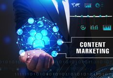 Business, Technology, Internet and network concept. Young busine. Ssman working on a virtual screen of the future and sees the inscription: Content marketing Stock Image