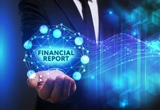 Business, Technology, Internet and network concept. Young busine. Ssman working on a virtual screen of the future and sees the inscription: Financial report Royalty Free Stock Photo