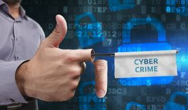 Business, Technology, Internet and network concept. Young entrepreneurs have a creative approach to the presentation: Cyber crime royalty free stock images