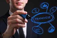 Business, Technology, Internet and network concept. Young business man writing word: Franchise stock photo