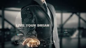 Live your Dream with hologram businessman concept stock photo