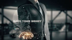 Save your Money with hologram businessman concept. Business, Technology Internet and network conceptBusiness, Technology Internet and network concept Stock Image