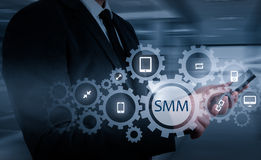 Business, technology, internet and networking concept. SMM - Social Media Marketing on the virtual display. Royalty Free Stock Images