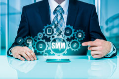 Business, technology, internet and networking concept. SMM - Social Media Marketing on the virtual display. Stock Photos
