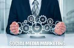 Business, technology, internet and networking concept. SMM - Social Media Marketing on the virtual display. Royalty Free Stock Photography