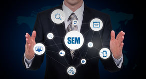 Business, technology, internet and networking concept. SMM - Social Media Marketing on the virtual display. Stock Images
