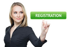 Business, technology, internet and networking concept - woman pressing registration button on virtual screens Stock Photos