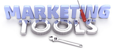 Business technology marketing tools. Shiny effective powerful new marketing tools for corporate department stock illustration