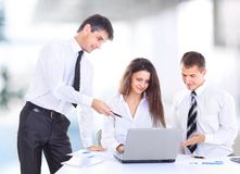 Business, technology and office concept Stock Image