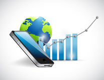 Business technology phone and graph Stock Photo