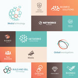 Business, technology and social media emblems Royalty Free Stock Image