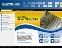 Business Technology Website Template. A blue and yellow website template for your business. There is a building on the side with abstract shapes and boxes Royalty Free Stock Photography