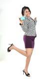 Business Teenage girl  with credit card. Studio shot of Business Teenage girl presenting her business card Stock Photos