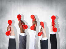 Business Telecommunication Conversation Red Phone Home Phone Con Stock Photos