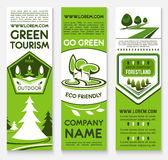 Business template banner set for ecotourism design. Ecotourism business template banner set. Forest and park nature landscape with green trees, plants, grass Stock Photos