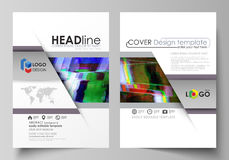 Business template for brochure, flyer, report. Cover design, abstract vector layout in A4 size. Glitched background made. Business templates for brochure Stock Photo