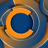 Business template in circle shapes of blue and orange gradient Stock Photography