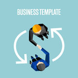 Business template. Top view partners handshaking Royalty Free Stock Photography