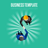 Business template. Top view partners handshaking Royalty Free Stock Photos