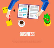 Business template. Top view workspace background. Business template. Top view office workspace, vector illustration. Overhead view of businessman working with Royalty Free Stock Photos