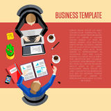 Business template. Top view workspace background Royalty Free Stock Photos