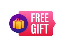 Free Business Template With Red Free Gift On White Background For Banner Design. Vector Business Template. Present Gift Box Royalty Free Stock Image - 200715686