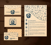Business template on wooden background royalty free stock photos