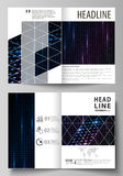 Business templates for bi fold brochure, flyer, booklet. Cover template, layout in A4 size. Abstract colorful neon dots. Business templates for bi fold brochure Royalty Free Stock Photos