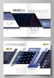 Business templates for bi fold brochure, flyer, booklet. Cover template, layout in A4 size. Abstract colorful neon dots. Business templates for bi fold brochure Stock Photography