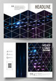 Business templates for bi fold brochure, flyer, booklet. Cover template, layout in A4 size. Abstract colorful neon dots Royalty Free Stock Photography