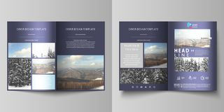 Business templates for bi fold brochure, flyer, booklet, report. Cover design template, vector layout in A4 size. Business templates for bi fold brochure royalty free illustration