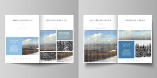 Business templates for bi fold brochure, flyer, booklet, report. Cover design template, vector layout in A4 size Stock Photography