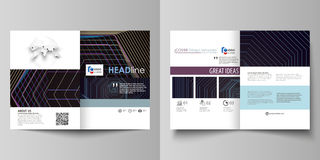 Business templates for bi fold brochure, flyer, booklet, report. Cover template, vector layout in A4 size. Abstract Stock Image