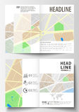 Business templates for bi fold brochure, magazine, flyer or annual report. Easy editable layout in A4 size. City map Stock Photo
