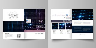 Business templates for bi fold brochure, flyer, booklet. Cover template, layout in A4 size. Abstract colorful neon dots. Business templates for bi fold brochure stock illustration