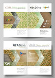 Business templates for bi fold brochure, magazine, flyer, report. Cover template, vector layout, A4 size. Abstract green Royalty Free Stock Photos