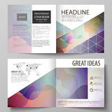 Business templates for bi fold square brochure, magazine, flyer, annual report. Leaflet cover, flat style vector layout Royalty Free Stock Image