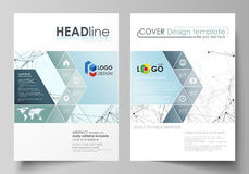 Business templates for brochure, flyer, booklet, report. Cover design template, vector layout in A4 size. Chemistry Stock Image